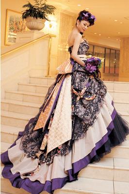 パープルの着物風Aラインドレス